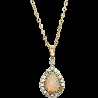 Estate 14 K 1.25 CT Opal and Diamond Pendant