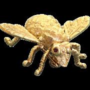 Estate 14 K Large Bug Pin with Ruby Eyes