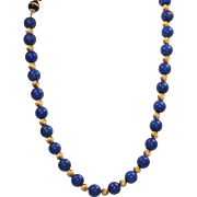 "Estate 24"" Lapis and Gold Necklace"