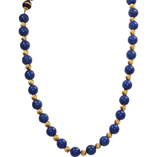 """Estate 24"""" Lapis and Gold Necklace"""