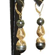 Estate 14 K Black Tahitian Pearl Dangle Earrings