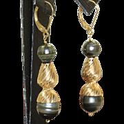 Estate 14 K Black Tahitian Pearl Dangle Earrings