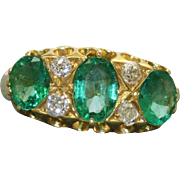 Estate 18 K Emerald and Diamond Ring