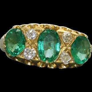 Estate 18 K Emerald and Diamond Ring