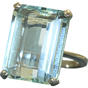 Estate Platinum 20 CT Aquamarine Dinner Ring