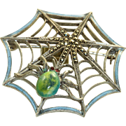 Estate Sterling Enamel Spider Web Brooch