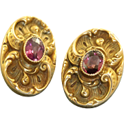 Victorian 10 K Rhodolite Garnet Detailed Earrings
