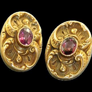 Victorian 10 K Rhodolite Garnet Detailed Earrings