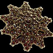 Silver Gilt Bohemian Garnet Brooch
