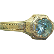 14 K Deco Two-Toned Blue Zircon Ring