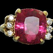 Estate 18 K 8 CT Cushion Cut Tourmaline and Diamond Ring