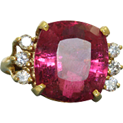 Estate 18 K 8 CT Cushion Cut Tourmaline and Diamond Ring