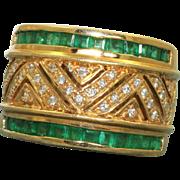 Estate 18 K Emerald and Diamond Band