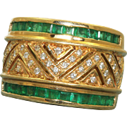 Estate 18 K Emerald and Diamond Band