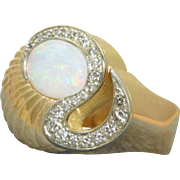 Estate 1950's 18 K Opal and Diamond Ring