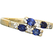 Estate 14 K Sapphire and Diamond By Pass Ring