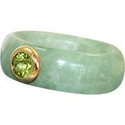 Estate 14 K Peridot and Jade Band