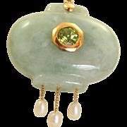Estate 14 K Peridot Jade Pearl Pendant