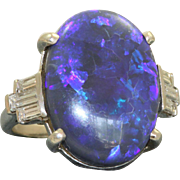Estate Platinum Black Opal and Diamond Ring