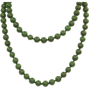 "Estate 32""  Hand Tied Spinach Jade Beads"