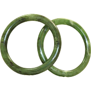 Estate Pair of Nephrite Jade Bangles