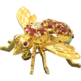 Estate 18 K Ruby and Diamond Bee/Fly