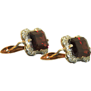 Estate 14 K Two Tone Garnet Earrings