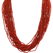 Estate Coral 24 Strand Bead Necklace with Bone Clasp