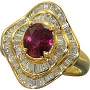 Estate 1970's Ruby and Diamond Ballerina Ring