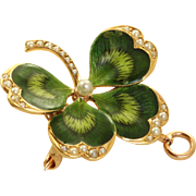Estate 14 K Krementz Art Nouveau Enamel and Seed Pearl '4' Leaf Clover Brooch