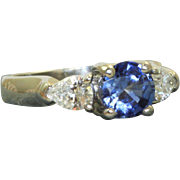 Estate Platinum 1 Ct Ceylon Sapphire and Diamond Ring