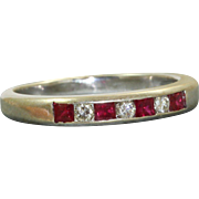 Estate 14 K Ruby and Diamond Half Eternity Band