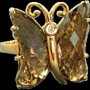 Estate 10 K Smokey Quartz and Diamond Butterfly Ring