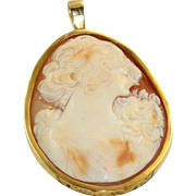 Estate 18 K Cameo Pendant with Hand Wrought Surround