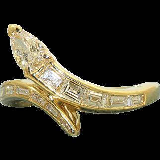Estate 18 K Diamond Snake Ring