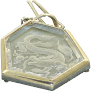 Estate Sterling Rock Crystal Dragon Intaglio Pendant