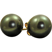 14 K 12 mm Black Tahitian Pearl Earrings