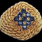 Estate 1970's 18 K Woven Gold Sapphire Ring