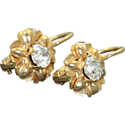 Estate 14 K Zircon Daisy Dangle Earring, Italy