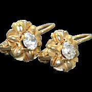 Estate 14 K Zircon Daisy Dangle Earring, Italy