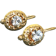 Estate 14 K Zircon Dangle Earrings