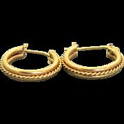 Estate 14 K Twisted Rope Hoop Earrings