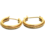 Estate 14 K Twisted Rope Hoop Earrings