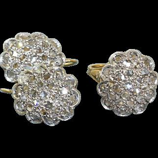 Estate 18 K/SS Italian Rose Cut Diamond Set