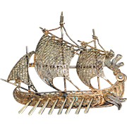 Vintage 800 Silver Viking Ship Pin