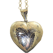 Estate Chased Large Heart Locket