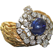 18 K 2 CT Sapphire Cabochon and Diamond Ring