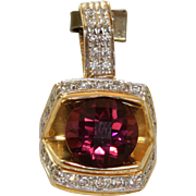 Estate 6 CT Tourmaline and Diamond Pendant