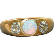 Estate 14 K Opal and Rose Cut Diamond Gypsy Ring