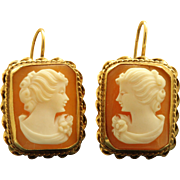 14 K Cameo Dangle Earrings